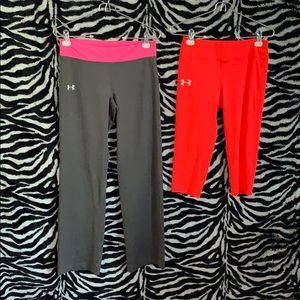 two pairs of under armor leggings